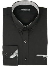Mens slim fit long sleeve button down casual shirt black (VGD063LS) - MODERNO