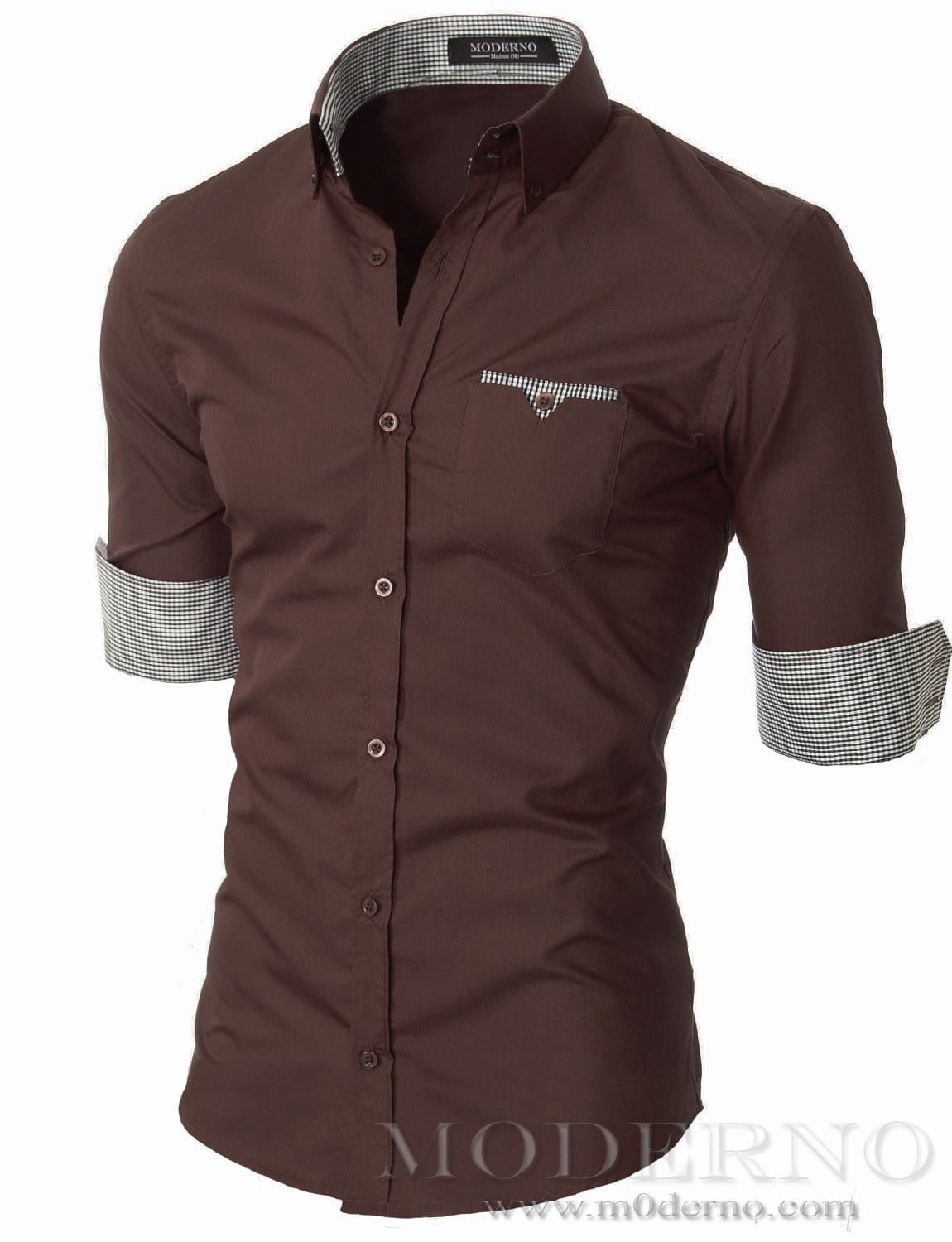 Mens slim fit long sleeve button down casual shirt brown (VGD063LS) - MODERNO