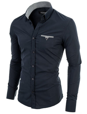 Mens slim fit long sleeve button down casual shirt charcoal (VGD063LS) - MODERNO