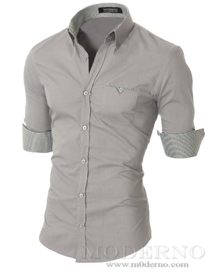 Mens slim fit long sleeve button down casual shirt gray (VGD063LS) - MODERNO