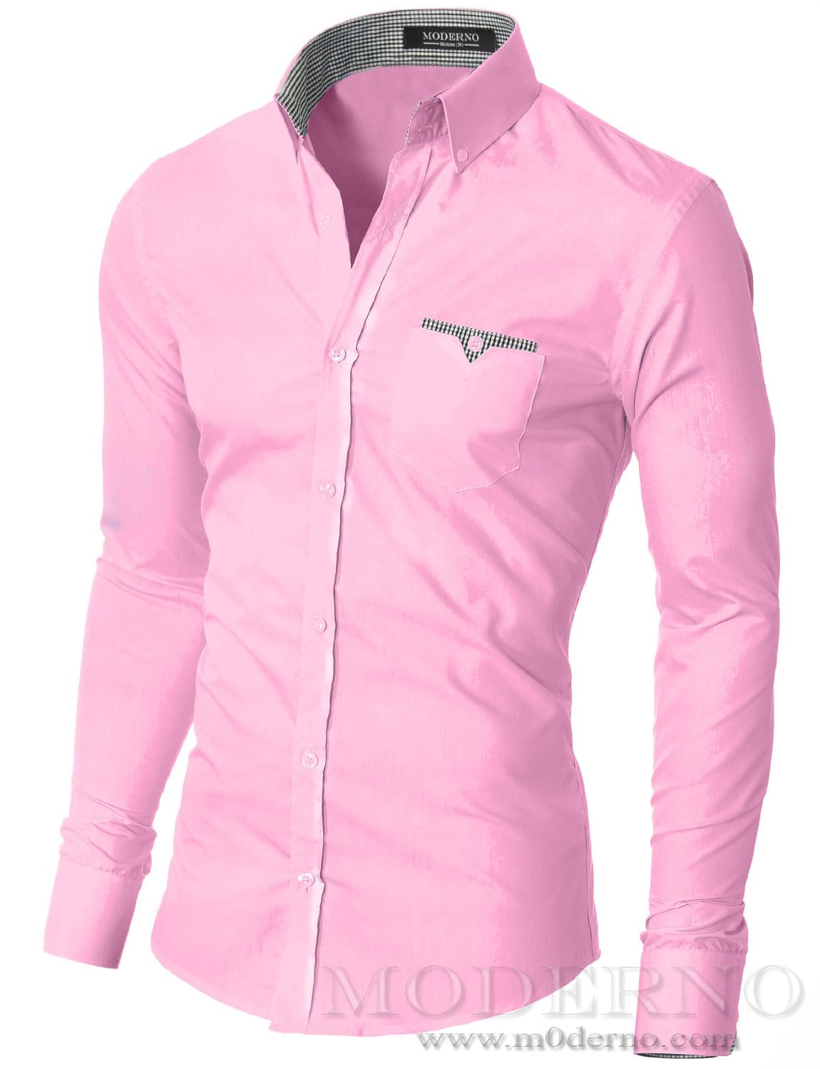 Mens button down pink shirt with one pocket by MODERNO ...