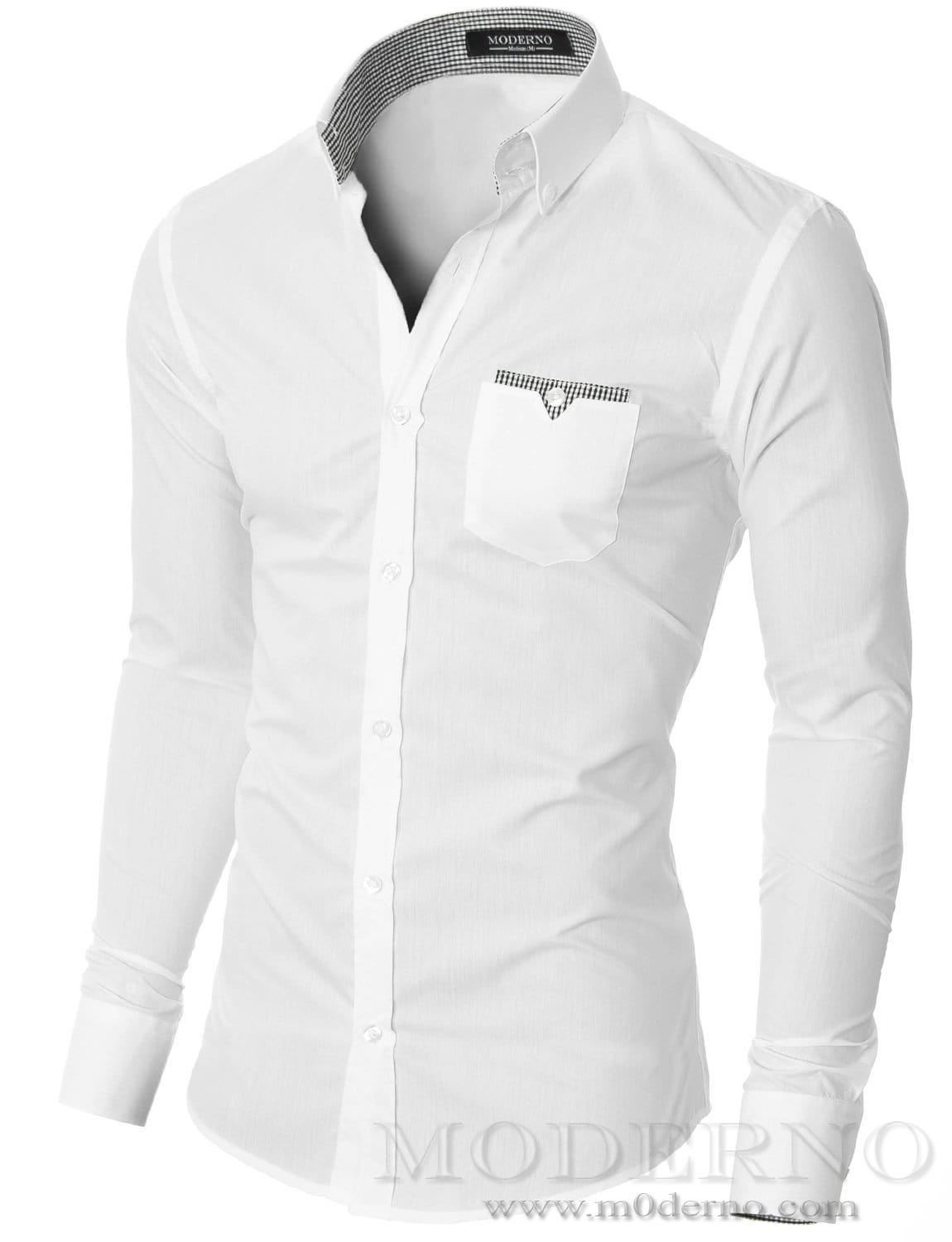 Mens button down white shirt with one pocket by moderno for Mens white button down dress shirts