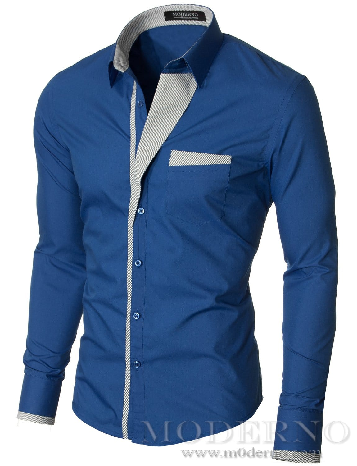Mens slim fit button up long sleeve dress shirt blue (VGDS41LS) - MODERNO