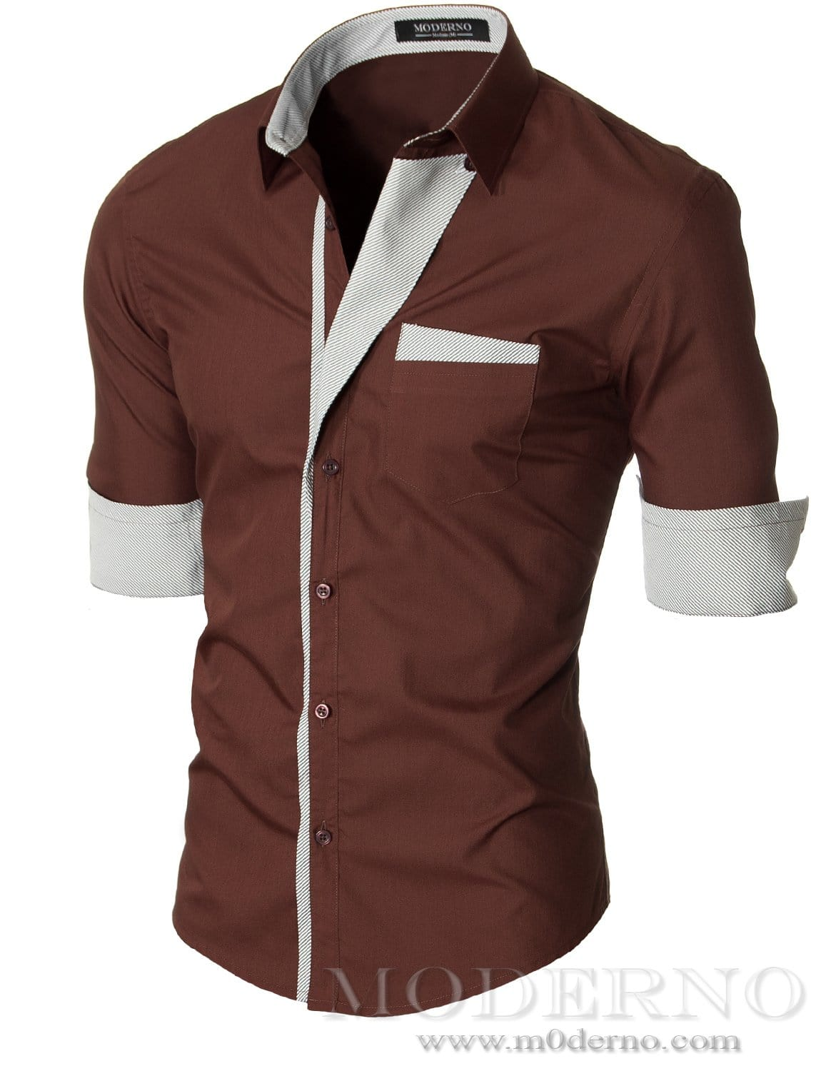 Slim fit mens brown button down shirt by moderno vgds41ls for Mens fitted long sleeve dress shirts