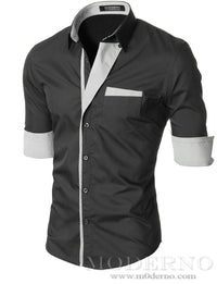 Mens slim fit button up long sleeve dress shirt charcoal (VGDS41LS) - MODERNO