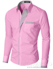 Mens slim fit button up long sleeve dress shirt pink (VGDS41LS) - MODERNO