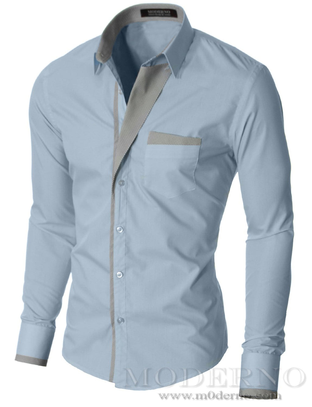 Mens slim fit button up long sleeve dress shirt sky (VGDS41LS) - MODERNO