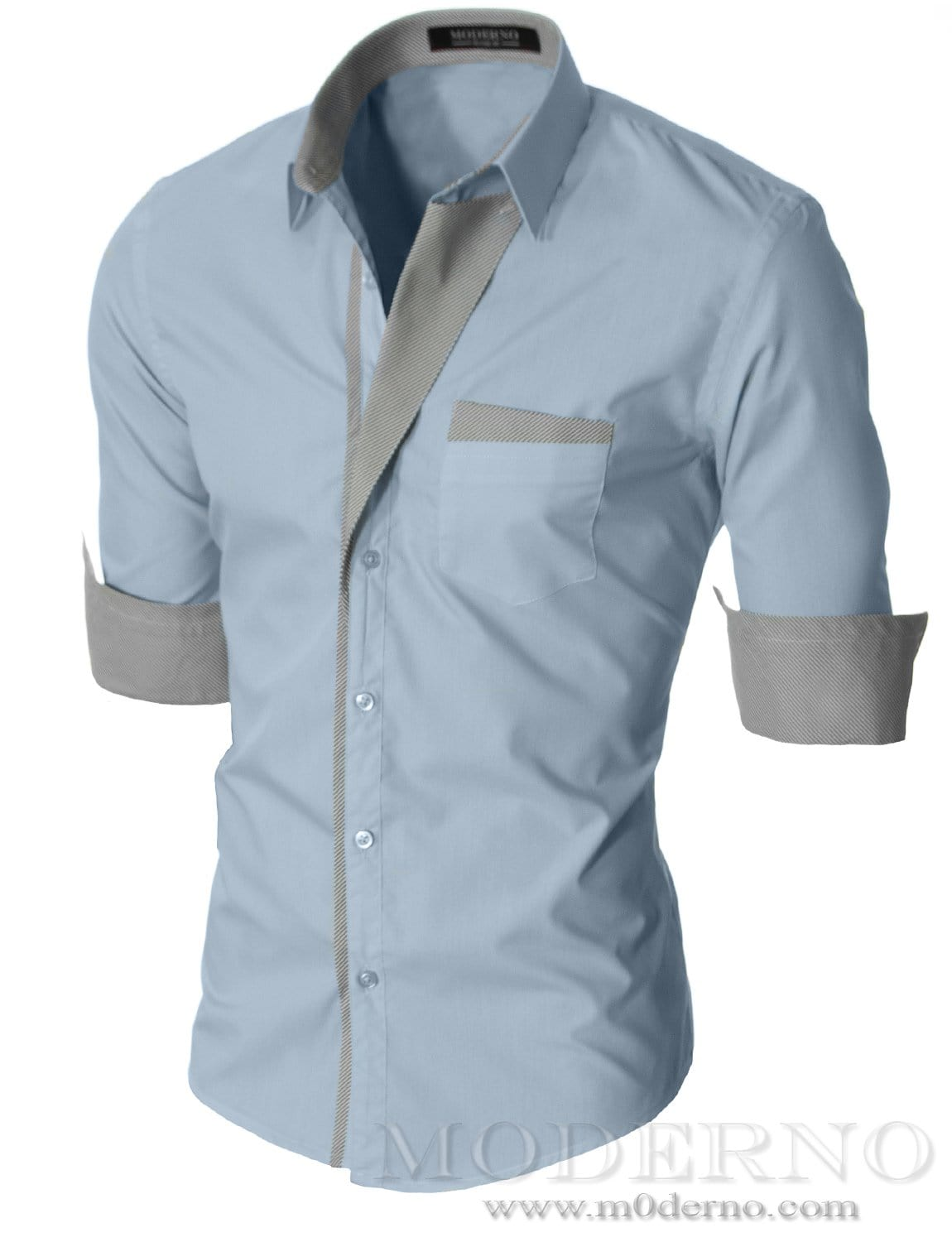 Slim Fit Mens Sky Button Down Shirt By Moderno Vgds41ls