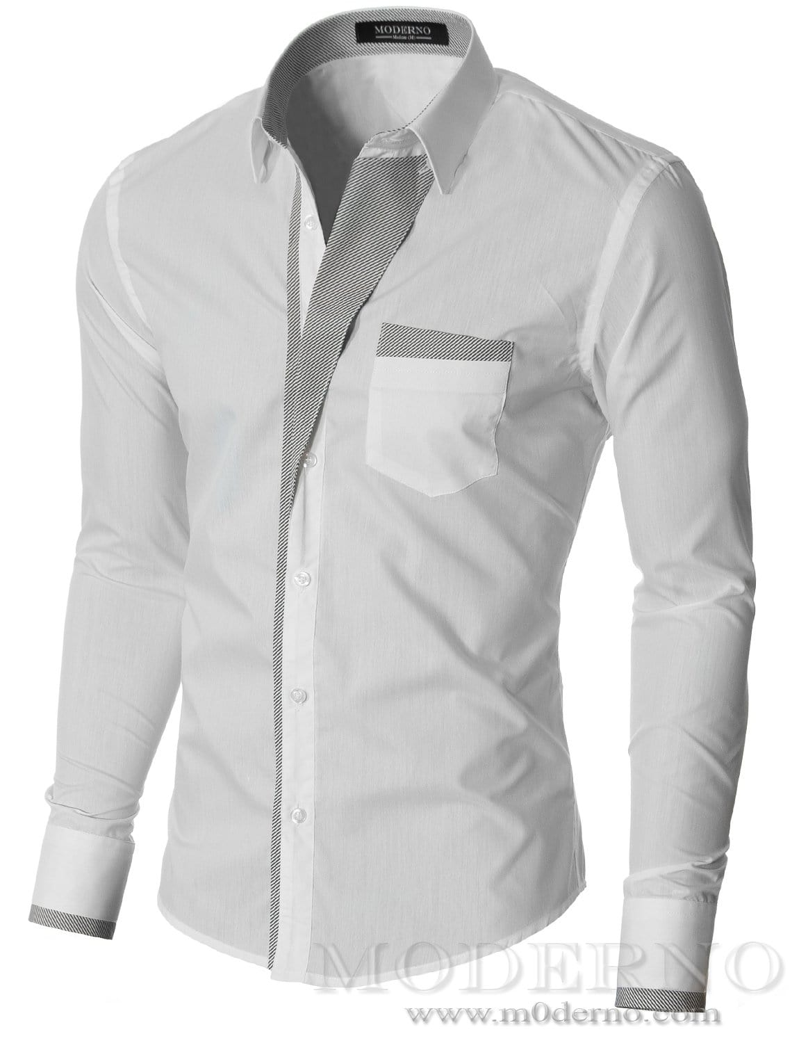 Slim fit mens white button down shirt by moderno vgds41ls for Athletic fit button down shirts
