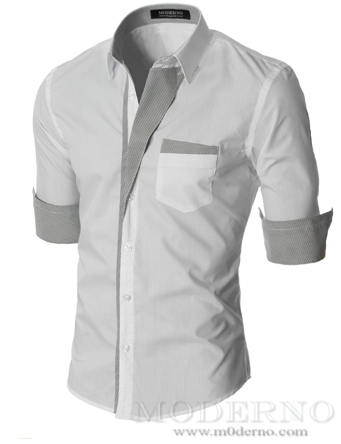 Slim fit mens white button down shirt by moderno vgds41ls for Mens slim white shirt
