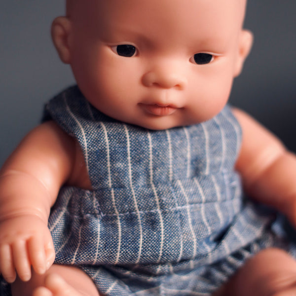 Unisex Vintage Denim Chambray Stripe Romper for 21cm Miniland