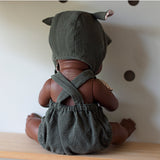 Crittter Bonnet and Olive Shortie Overall Set for 32cm Miniland