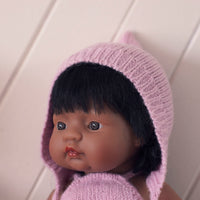 Soft Pink Fairtrade 100% Alpaca Bonnet for 21, 32 and 38cm miniland