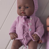 Soft Pink Fairtrade 100% Alpaca Cardigans for 21, 32 and 38cm miniland