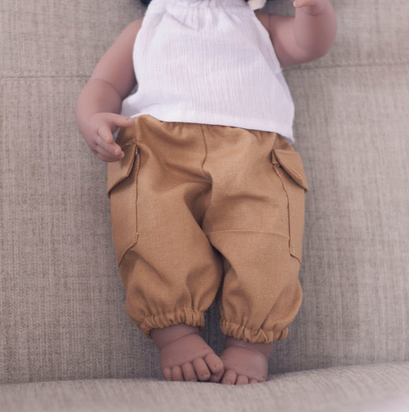 Cargo Pants in Mustard linen for 38cm miniland