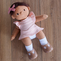 Peach Double Gauze Frill Top for Dinkum Doll and 38cm Miniland