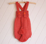 Coral 100% Alpaca  Knitted High Waisted Romper