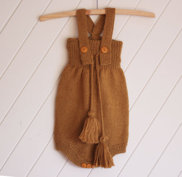 Mustard 100% Alpaca  Knitted High Waisted Romper