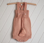 Peach 100% Alpaca  Knitted High Waisted Romper