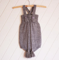 Silver 100% Alpaca  Knitted High Waisted Romper