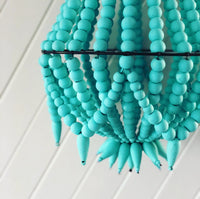 Handmade Timber Chandelier in Teal