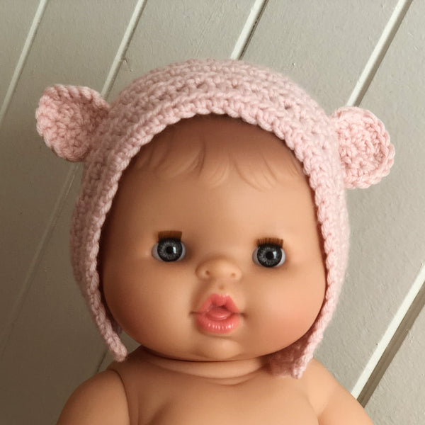 Baby Bear Bonnet in Sweet Pink for Minikane and 38cm Miniland