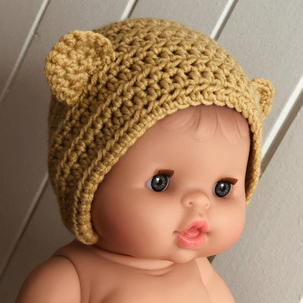 Baby  Bear Bonnet in Mustard for Minikane and 38cm Miniland