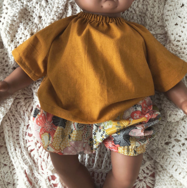 Mustard Linen Peasant Tunic for 40cm Miniland