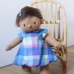 Plaid Frill Sleeve Bubble Dress for Dinkum Doll and 38cm Miniland