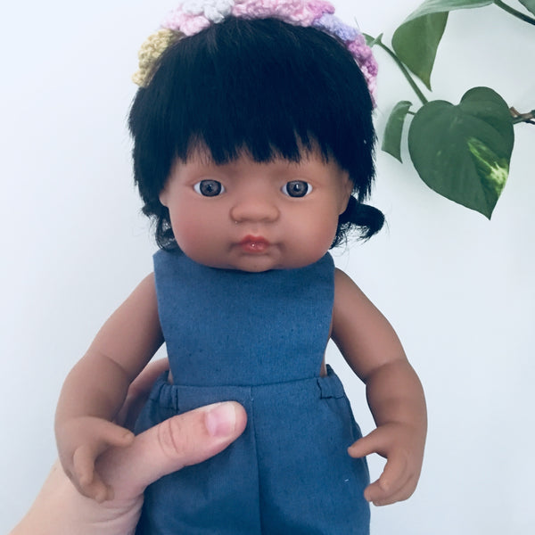 Long leg Denim coloured linen Romper for 38cm Miniland