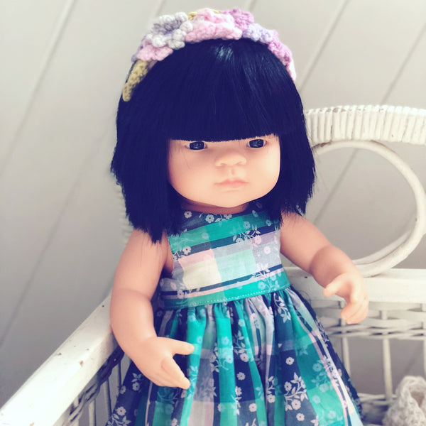 Little Lady Dress in Liberty Teal Plaid for 38cm Miniland