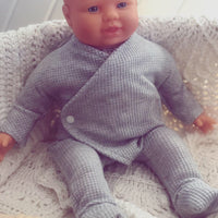 Silver Grey Waffle Sleepsuit for 40cm miniland