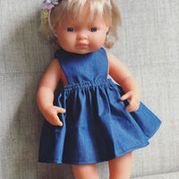 Denim Pinny Dress for 38cm Miniland