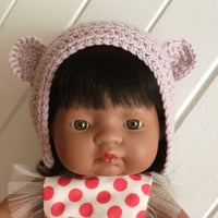 Baby  Bear Bonnet in Lavender for Minikane and 38cm Miniland