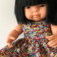 Little Lady Dress in Liberty Hearts for Minikane and 38cm Miniland