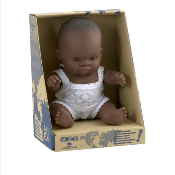 African Boy and Girl 21cm Miniland Doll