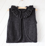 Knitted 100% Alpaca Charcoal Ruffle Vest