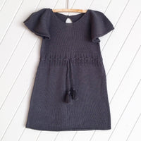 Knitted 100% Gunmetal Grey Tassel Dress