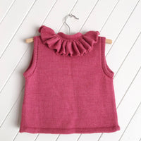 Knitted 100% Alpaca Rose Pink Ruffle Vest
