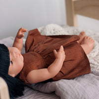 Little Lady Dress in Dark Rust Linen for 38cm Miniland