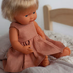 Little Lady Dress in Salmon Linen for 38cm Miniland