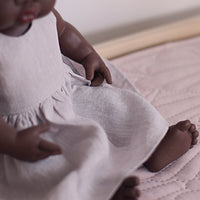 Little Lady Dress in Warm Silver Linen for 38cm Miniland