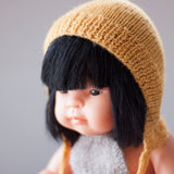 Mustard Fairtrade 100% Alpaca Bonnet for 21, 32 and 38cm miniland