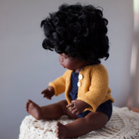 Mustard Fairtrade 100% Alpaca Cardigans for 21, 32 and 38cm miniland
