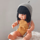 Silver Fairtrade 100% Alpaca Bonnet for 21, 32 and 38cm miniland
