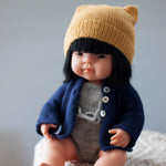 Navy Fairtrade 100% Alpaca Cardigans for 21, 32 and 38cm miniland