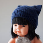 Navy Fairtrade 100% Alpaca Cat Hat for 21, 32 and 38cm miniland