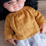 Mustard Double Gauze Peasant Top for 38cm Miniland