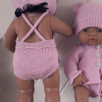 Soft Pink Fairtrade 100% Alpaca Romper for 21, 32 and 38cm miniland
