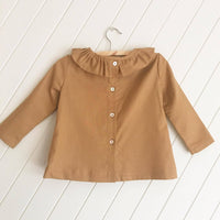 Long Sleeve Ruffle Top Rusty Mustard 100% Linen Cotton